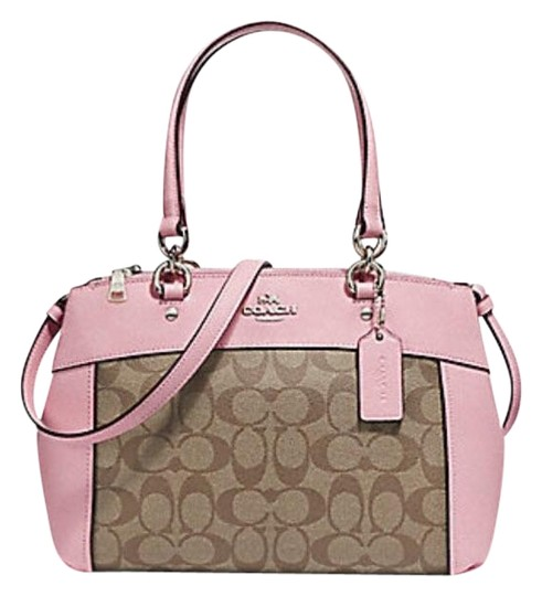 Preload https://item4.tradesy.com/images/coach-christie-mini-brooke-carryall-signature-f25928-57523-light-gold-pink-leather-and-canvas-satche-23339433-0-2.jpg?width=440&height=440