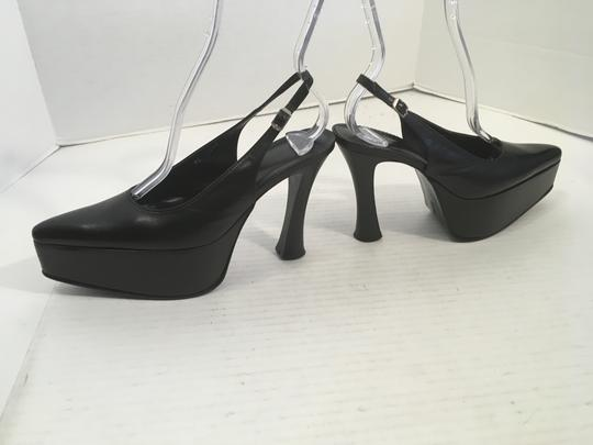 Christian Zooggerie Pointed Black leather including heels and base slingback high closed toe Platforms