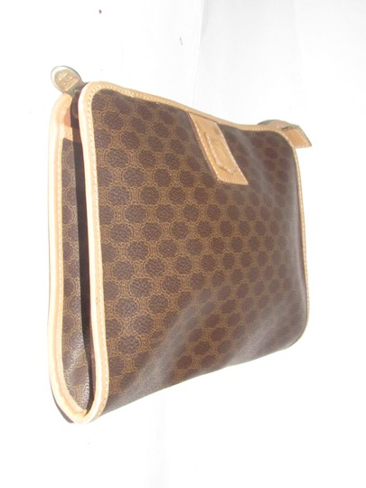 Céline Early Style Mint Vintage Rich Shades Of Clutch/Cosmetic dark brown in macadam print coated canvas and pacan colored leather Clutch
