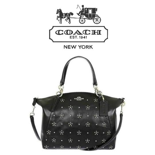 Coach Leather Studded Silver Silver Hardware Cross Body Bag