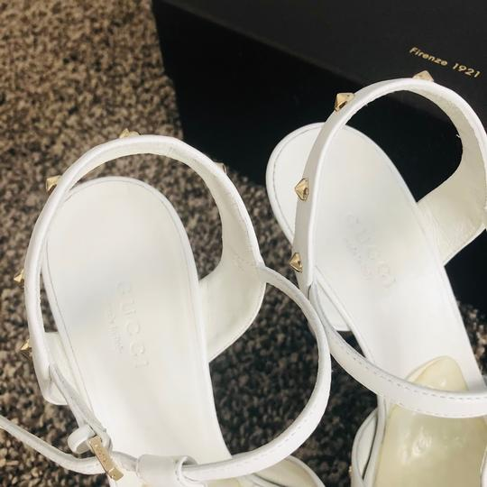 Gucci Leather Studded White Sandals