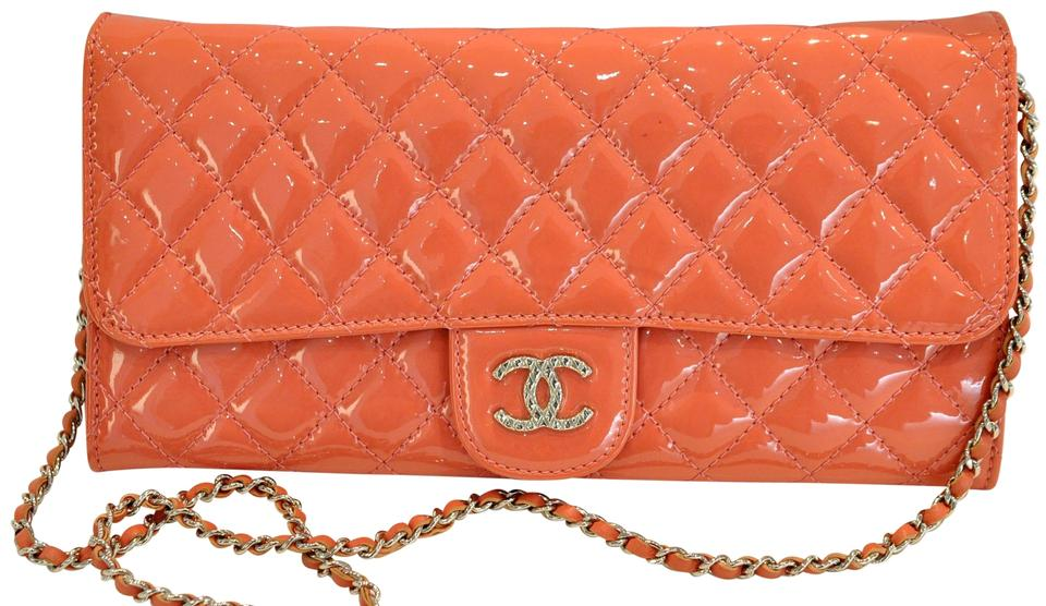 ad8b4b369d44 Chanel East West Clutch Patent Quilted Brilliant with Chain Salmon ...