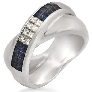Unbranded 18K Gold Invisible Setting 0.43 CT Diamonds 0.85 CT Blue Sapphire Ring
