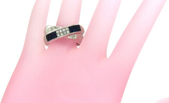 Unbranded 18K Gold Invisible Setting 0.43 CT Diamonds 0.85 CT Blue Sapphire Ring Image 1