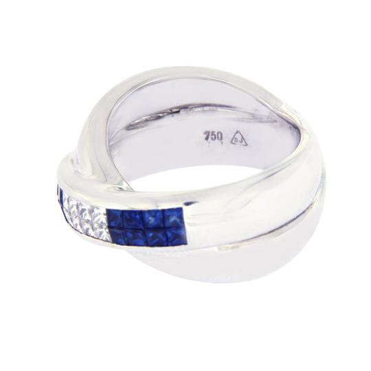 Unbranded 18K Gold Invisible Setting 0.43 CT Diamonds 0.85 CT Blue Sapphire Ring Image 2