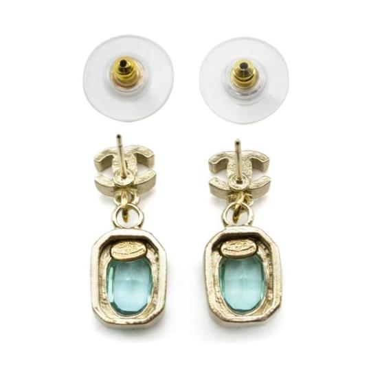 Chanel Gold CC C C Coco Blue Poured Glass Dangle Earrings