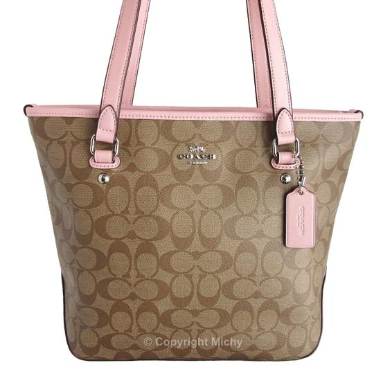 Preload https://item5.tradesy.com/images/coach-f58294-signature-zip-top-khaki-brown-blush-pink-coated-canvas-tote-23339549-0-1.jpg?width=440&height=440