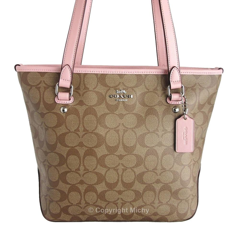 Coach Signature Coated Canvas Zip Top Leather Trim F58294 Tote in Khaki  (Brown) ... 123226a827b2e