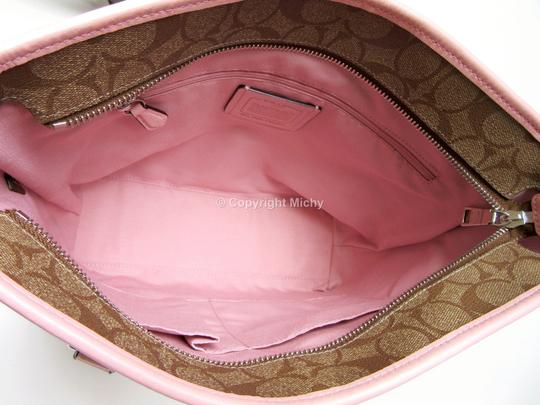 Coach Signature Coated Canvas Zip Top Leather Trim F58294 Tote in Khaki (Brown) / Blush (Pink)