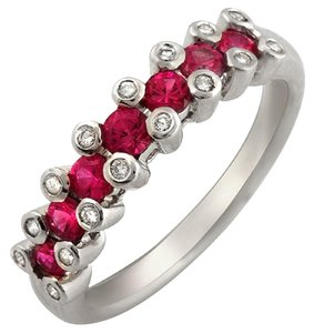 unbranded 18K White Gold 0.16 CT Diamonds & 0.86 CT Ruby Wedding Band Ring