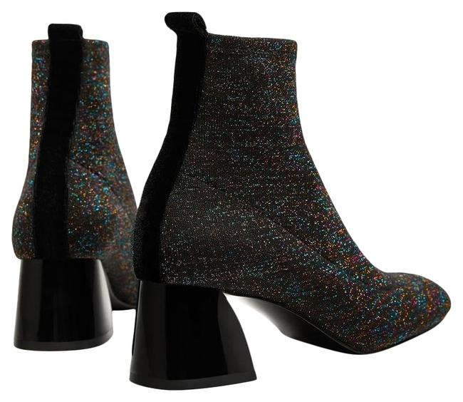 Item - Dark Gray with Shimmer Sock-style High Heel Ankle Boots/Booties Size US 7.5 Regular (M, B)