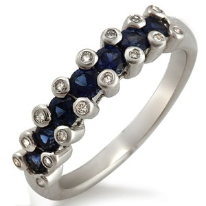 Unbranded 18K White Gold 0.16 CT Diamonds &0.86 CT Blue Sapphire Wedding Band