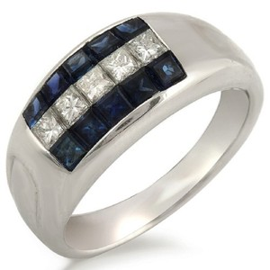 Unbranded 18K White Gold 0.52 CT Diamonds & 1.04 CT Blue Sapphire Wedding Band