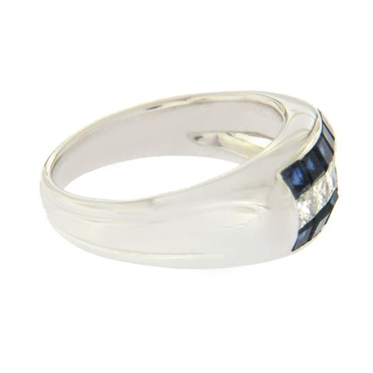 Unbranded 18K White Gold 0.52 CT Diamonds & 1.04 CT Blue Sapphire Wedding Band Image 1