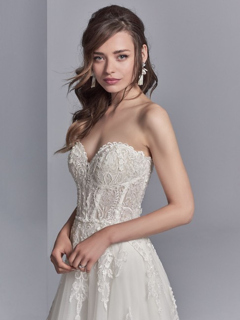 Sottero and Midgley Ivory/Pewter Accent Lace Tulle Watson Modern Wedding Dress Size 8 (M) Sottero and Midgley Ivory/Pewter Accent Lace Tulle Watson Modern Wedding Dress Size 8 (M) Image 1