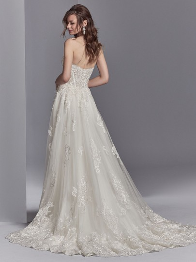 Sottero and Midgley Ivory/Pewter Accent Lace Tulle Watson Modern Wedding Dress Size 8 (M)
