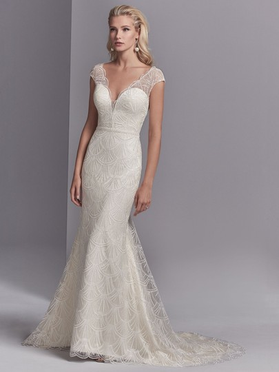 Sottero and Midgley Ivory Over Champagne Lace Tulle Ramira Modern Wedding Dress Size 10 (M)