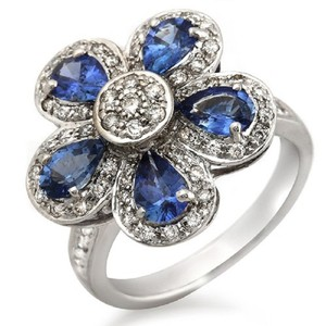 Unbranded 18K White Gold 0.50 CT Diamonds & 2.20 CT Blue Sapphire Flower