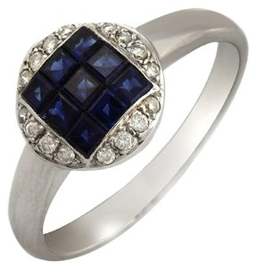 Unbranded 18K White Gold 0.09 CT Diamonds & 1.37 CT Blue Sapphire Engagement