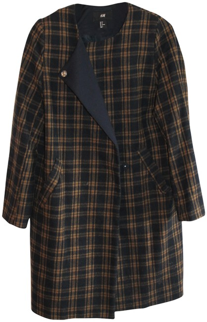 Preload https://img-static.tradesy.com/item/23339679/h-and-m-black-and-brown-and-tartan-pea-coat-size-8-m-0-2-650-650.jpg