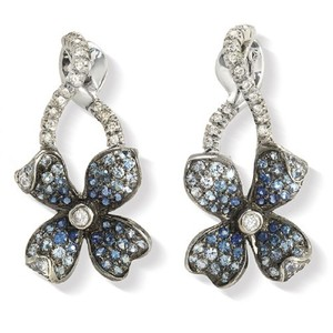 Unbranded 18K Gold Pave 0.19 CT Diamonds & 1.01 CT Blue Sapphire Flower Earring