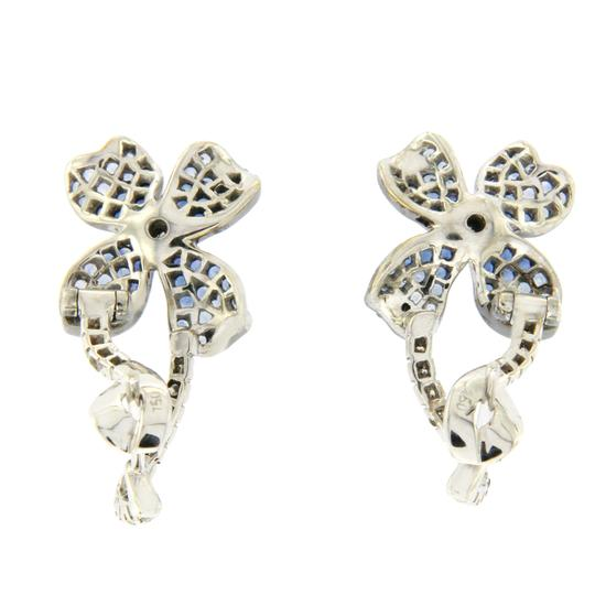 Unbranded 18K Gold Pave 0.19 CT Diamonds & 1.01 CT Blue Sapphire Flower Earring Image 3