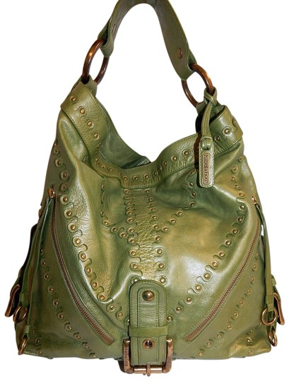 Preload https://item4.tradesy.com/images/isabella-fiore-metallic-studded-slouch-green-leather-shoulder-bag-23339748-0-1.jpg?width=440&height=440