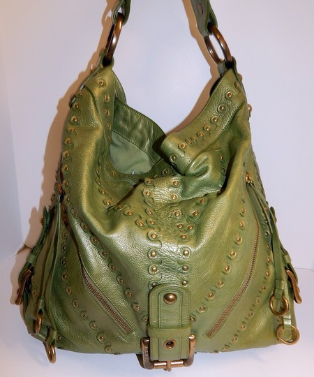 Isabella Fiore Metallic Leather Stud Shoulder Bag Image 3
