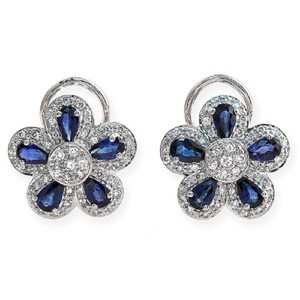 Unbranded 18K Gold 0.75 CT Diamonds & 2.66 CT Blue Sapphire Flower Earring