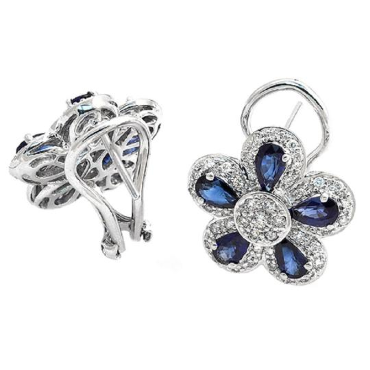 Unbranded 18K Gold 0.75 CT Diamonds & 2.66 CT Blue Sapphire Flower Earring Image 1