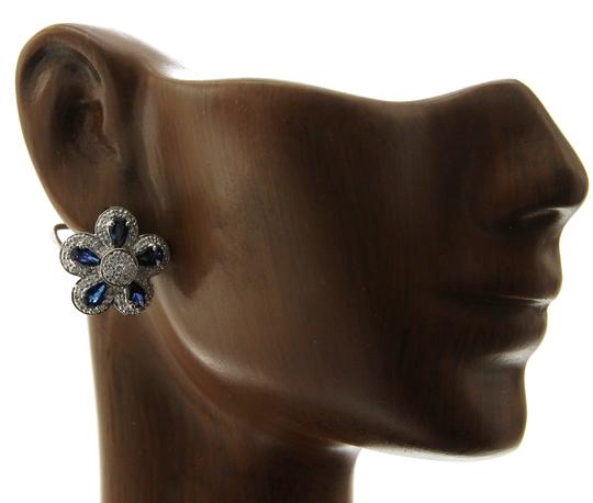 Unbranded 18K Gold 0.75 CT Diamonds & 2.66 CT Blue Sapphire Flower Earring Image 2