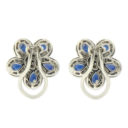 Unbranded 18K Gold 0.75 CT Diamonds & 2.66 CT Blue Sapphire Flower Earring Image 3