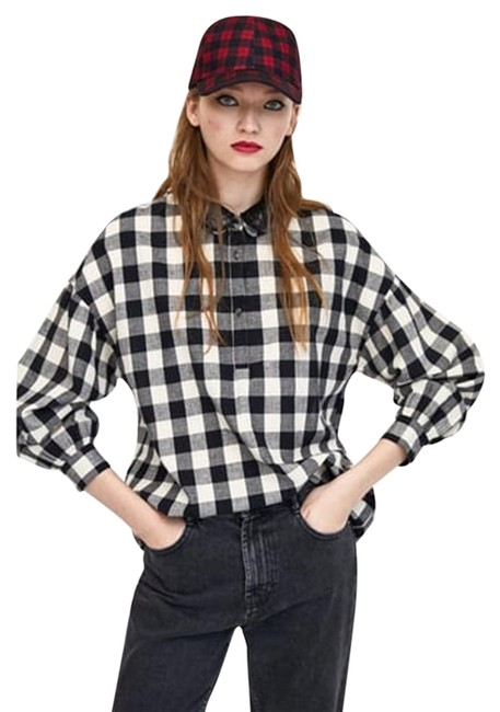 Preload https://item5.tradesy.com/images/zara-black-and-white-gingham-checked-shirt-long-sleeve-sequinned-collar-new-button-down-top-size-18--23339769-0-1.jpg?width=400&height=650