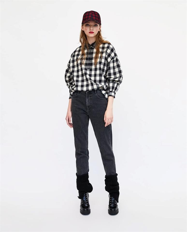 e29ab935529 Zara Black   White Gingham Checked Shirt Long Sleeve Sequinned Collar New  Button-down Top Size 18 (XL