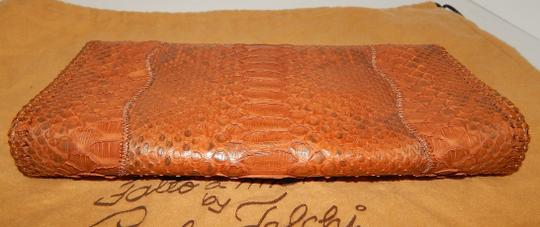 Carlos Falchi Fatto O Python Brown Clutch Image 2
