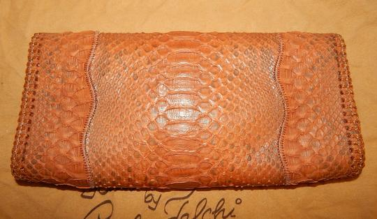 Carlos Falchi Fatto O Python Brown Clutch Image 3