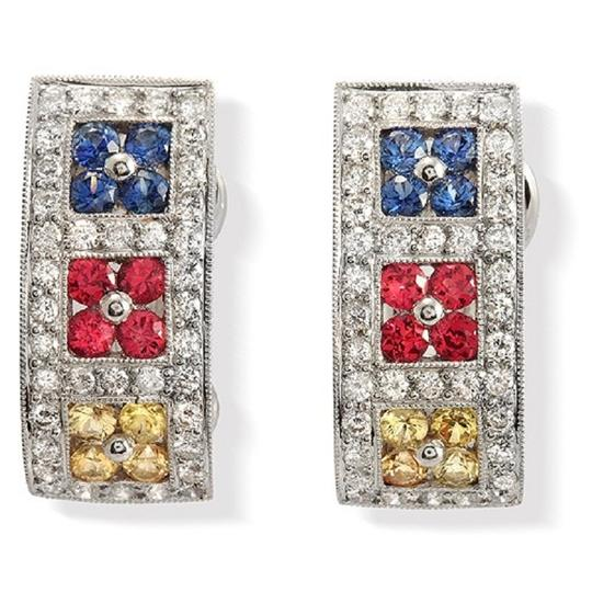 Preload https://item4.tradesy.com/images/18k-gold-093-ct-diamonds-and-138-ct-multi-sapphire-omega-back-earrings-23339773-0-0.jpg?width=440&height=440