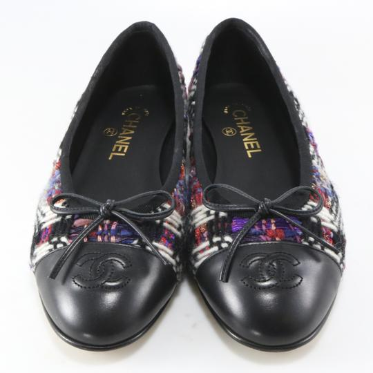 Chanel Tweed Ballerina Classic Black, Purple, White Flats