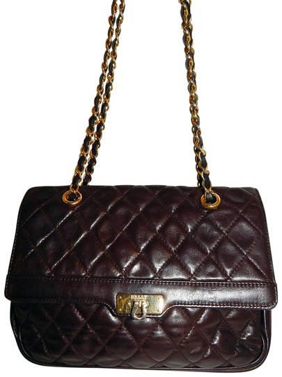 Bally Classic Quilted Lamb Gold Chain Italy Brown Lambskin