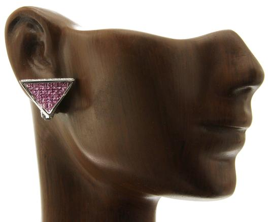 Unbranded 18K White Gold 0.18 CT Diamonds & 5.80 CT Pink Sapphire Earring Image 1