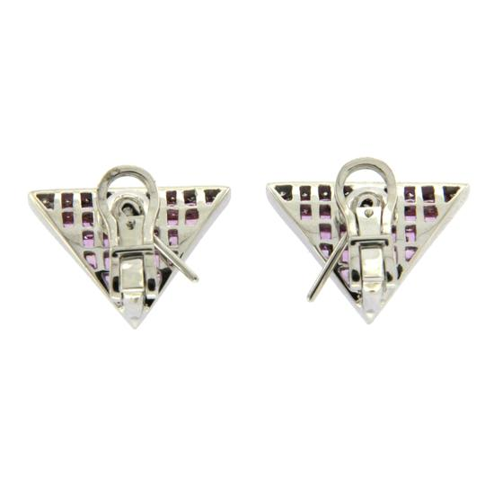 Unbranded 18K White Gold 0.18 CT Diamonds & 5.80 CT Pink Sapphire Earring Image 2