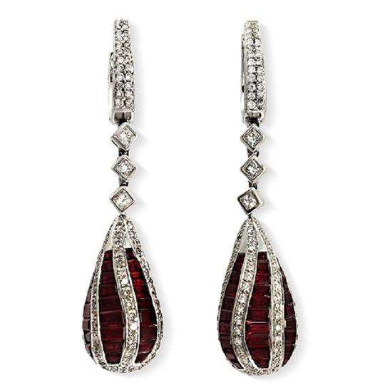 Unbranded 18K White Gold 0.21 CT Diamonds & 7.98 CT Ruby Dangle Earring
