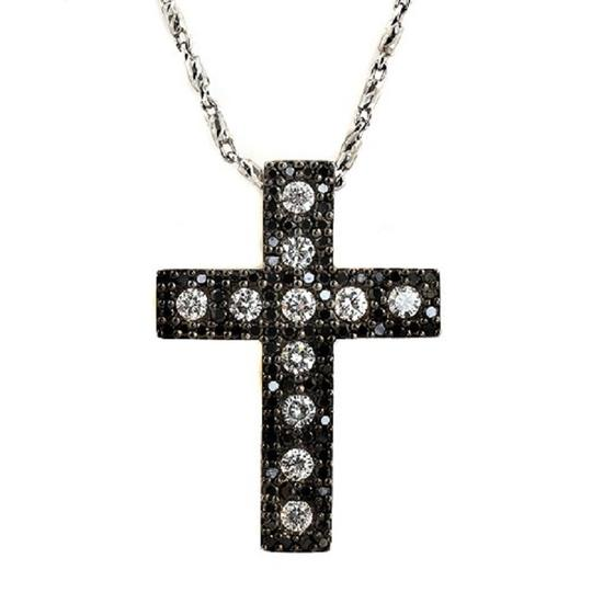 Preload https://item3.tradesy.com/images/14k-white-gold-115-ct-white-and-black-diamonds-cross-necklace-23339897-0-0.jpg?width=440&height=440