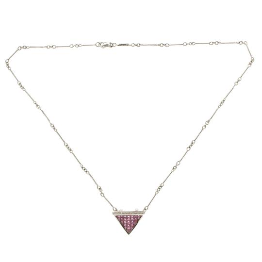Unbranded 14K Gold 0.09 CT Diamonds 2.90CT Invisible Set Pink Sapphires Necklace Image 1