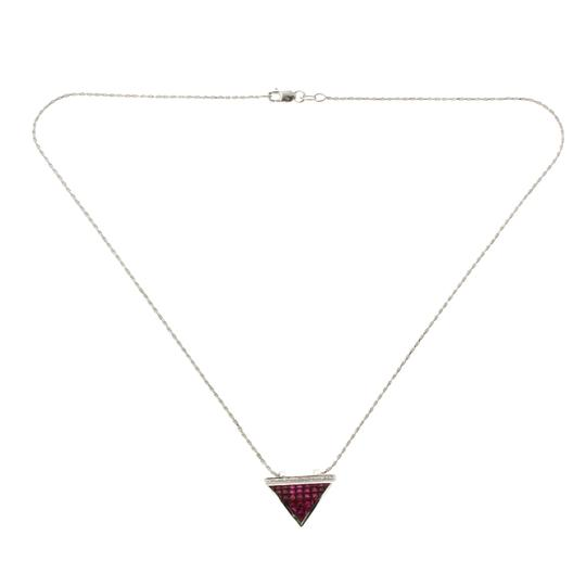 Preload https://img-static.tradesy.com/item/23339954/14k-white-gold-009-ct-diamonds-290-ct-invisible-set-ruby-necklace-0-0-540-540.jpg