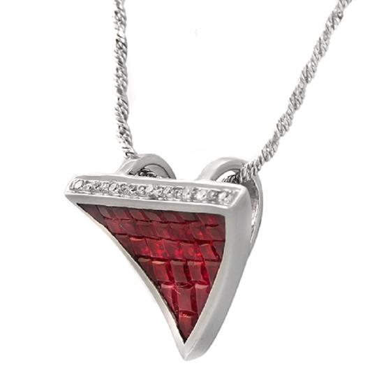 Unbranded 14K White Gold 0.09 CT Diamonds 2.90 CT Invisible Set Ruby Necklace