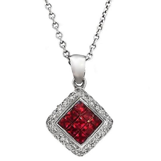 Preload https://img-static.tradesy.com/item/23339980/14k-white-gold-026-ct-diamonds-100-ct-invisible-set-ruby-necklace-0-0-540-540.jpg