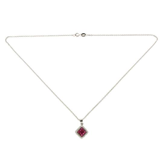 Unbranded 14K White Gold 0.26 CT Diamonds 1.00 CT Invisible Set Ruby Necklace
