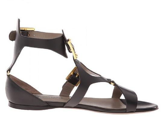 Versace Collection Grecian Flats Buckle Straps Gold Black Sandals