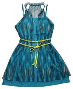 Nike MARIA SHARAPOVA GOLDEN SET BLUE GREEN YELLOW MESH TENNIS DRESS